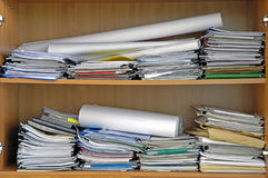 Office mess. Papers and documents in office Stock Photography