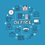 Office minimal outline icons. Vector pictogram set Royalty Free Stock Image