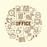 Office minimal thin line icons set. Vector illustration design elements Royalty Free Stock Images