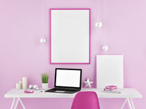 Office mock up, pink background, 3d illustration Royalty Free Stock Photos