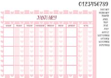 Office monthly planner on a pink background with hearts. Monthly planner on a pink striped background with hearts with place for notes, names of months and Royalty Free Stock Photography
