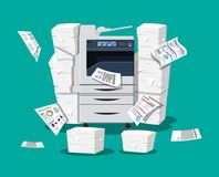 Pile of paper documents and printer. Office multifunction machine. Pile of paper documents. Bureaucracy, paperwork, office. Printer copy scanner device Stock Image