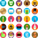 Office and munchies flat icons set Stock Image