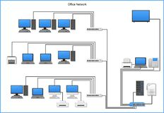 Office network diagram with devices, buildings on white background. Office network diagram with computers, servers, laptop, router, switch, smartphone, printer vector illustration
