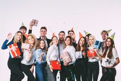 Office new year party. Young people having fun. Celebration concept royalty free stock photo