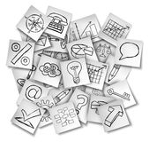 Office Notes Icons. As a concept for business information and financial data as a group of white papers with drawings of  finance symbols Royalty Free Stock Photos