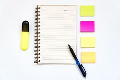 Office object. Note paper, open notepad, blank paper blocks for notes on white. Concept of study, planning. copy space royalty free stock photos