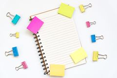Office object. Note paper, open notepad, blank paper blocks for notes on white. Concept of study, planning. copy space stock image