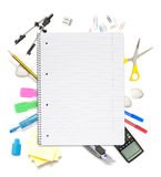 Office objects. Notepad with lots of office objects Royalty Free Stock Photos