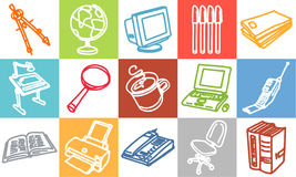 Office & objects. Vector hand-drawn color icons Stock Photography