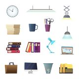 Office objects accessories and environment. Cartoon style collection Royalty Free Stock Photography