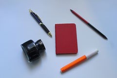 Office objects on the desk. Some office objects on the desk Royalty Free Stock Photo