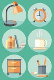 Office objects and elements of workplace icon set Stock Images