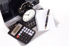 Office objects on laptop Royalty Free Stock Photo