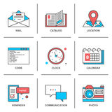 Office objects line icons set vector illustration