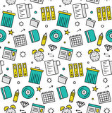 Office objects seamless icons pattern Stock Photography