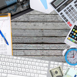 Office objects, tablet pc and keyboard lying on Stock Photography