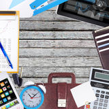 Office objects, tablet pc and smartphone lying on Royalty Free Stock Photos