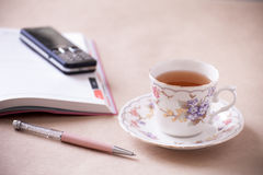 Office objects - tea time Stock Photos