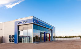 Office of official dealer Datsun. SAMARA, RUSSIA - AUGUST 30, 2014: Office of official dealer Datsun. Datsun is an automobile brand owned by the Nissan Motor Stock Image