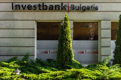 The office of one of the top banks in Bulgaria - Investbank. Stock Photos