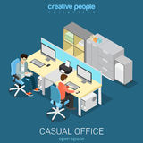 Office open space room workplace flat vector isometric interior Royalty Free Stock Image