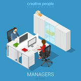 Office open space room workplace flat vector isometric interior Royalty Free Stock Photography