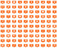 Office orange message icons set Stock Photo