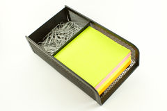 Office organiser. Desk organiser for sticky notes and metal clips Stock Images