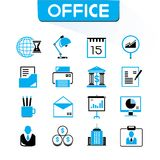 Office and organization icons. Set, blue color theme Stock Images