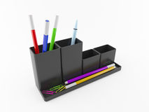 Office organizer. With colored pens Royalty Free Stock Photography