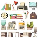 Office Orthogonal Icon Set Royalty Free Stock Photos
