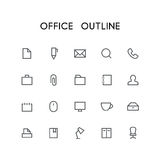 Office outline icon set. Search, pen, document, phone, mail, briefcase, folder, paperclip and others simple vector symbols. Business and work signs Royalty Free Stock Photography
