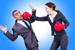 Office pair fighting  Royalty Free Stock Images
