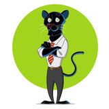 Office panther. Vector illustration. Leopard in a tie Royalty Free Stock Photography
