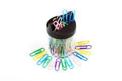 Office paper clips. Multi-coloured office paper clips on a white background Stock Photo