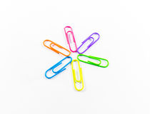 Office paper clips. Isolated on white background Stock Photos