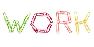 Office paper clips writing work Stock Image