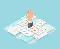 Office Paper Drowning Composition. Colored isometric office paper drowning composition with mans hand reaches out of paper vector illustration Stock Photos