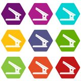 Office paper hole puncher icon set color hexahedron. Office paper hole puncher icon set many color hexahedron isolated on white vector illustration Stock Image