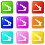 Office paper hole puncher icons 9 set. Office paper hole puncher icons of 9 color set isolated vector illustration Stock Photos