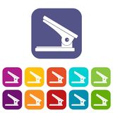 Office paper hole puncher icons set flat Stock Image