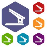 Office paper hole puncher icons set hexagon. Isolated vector illustration Stock Photography