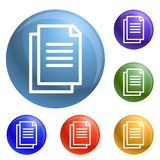Office paper icons set vector vector illustration