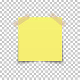 Office paper sheet pin on sticky tape with shadow isolated on a transparent background. Vector Royalty Free Stock Photos