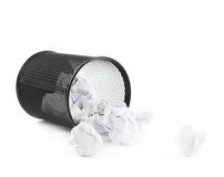 Office paper trash bin isolated royalty free stock photo