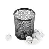 Office paper trash bin isolated Royalty Free Stock Image