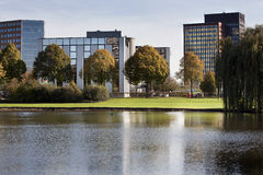Office park. With trees and water stock images