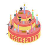 Office party. Cake and managers. Holiday at work. Businessman on. Feast. Celebratory cap and Party horn. balloon and bottle of alcohol. Manager drunk. Birthday vector illustration