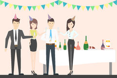 Office party cheers. Holiday corporate dinner and disco. All staff in celebrating hats. Office with decoration Stock Photos